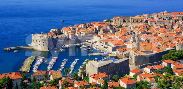 The historical old town port of Dubrovnik, Croatia Stock Photo