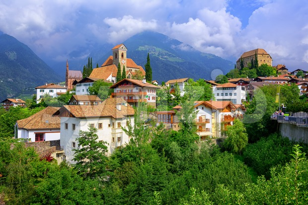 Alpine village Schenna, Meran, South Tyrol, Italy Stock Photo
