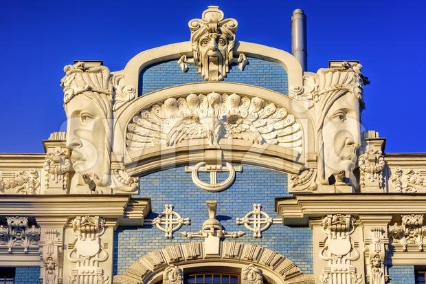 Detail of Art Nouveau (Jugendstil) building in the historic old town center of Riga, Latvia