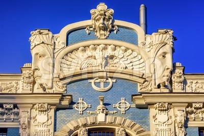 Art Nouveau building detail, Riga, Latvia Stock Photo