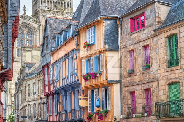 Old town of Quimper, Brittany, France Stock Photo