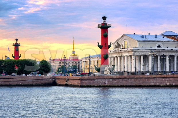 Cityscape of St Petersburg, Russia, on sunset Stock Photo