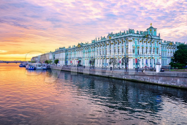 Winter Palace on Neva river, St Petersburg, Russia Stock Photo