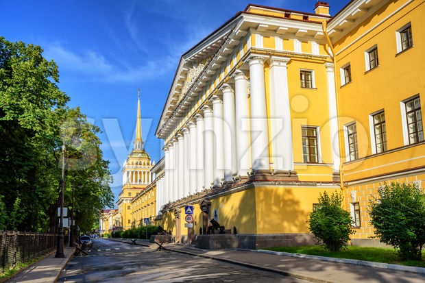 Neoclassical Admiralty Building with white greek columns and golden spire is iconic view in St Petersburg, Russia