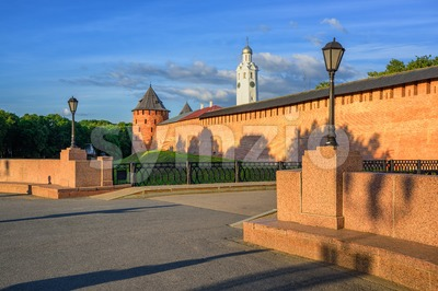 The Velikiy Novgorod Kremlin walls and towers, Russia Stock Photo