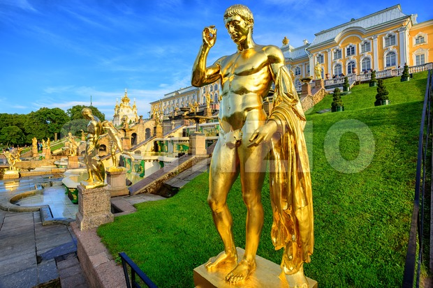 Peterhof garden, St Petersburg, Russia Stock Photo