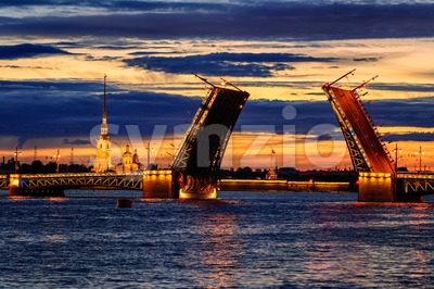 The Palace Bridge on Neva river, St Petersburg, Russia Stock Photo