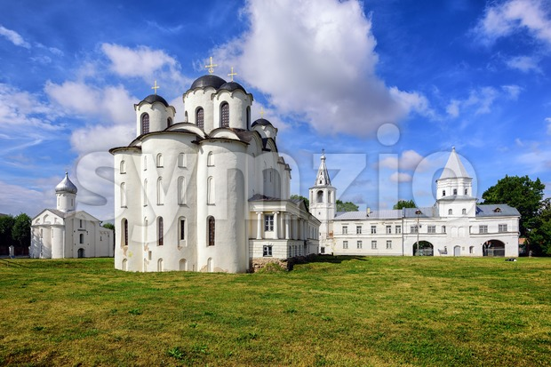 Saint Nicholas Cathedral and old russian orthodox churches on Trade Mart, Velikiy Novgorod, Russia, are on UNESCO World Heritage list.