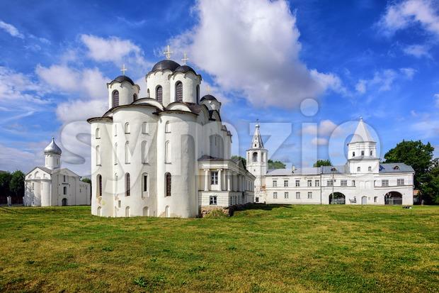 Historical russian orthodox churches in Novgorod, Russia Stock Photo