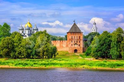 Novgorod Kremlin walls and churches, Russia Stock Photo