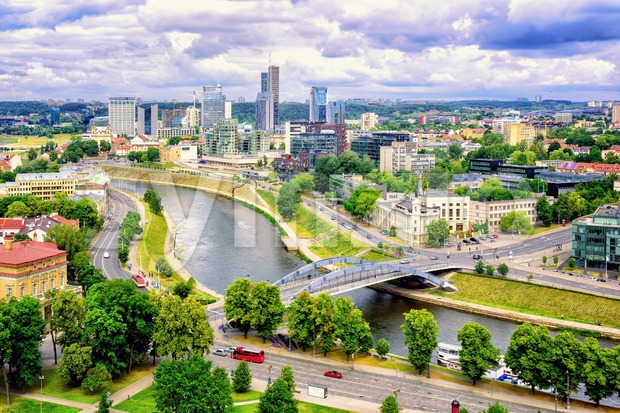 The modern skyline of Financial Centre and Neris river, Vilnius, Lithuania