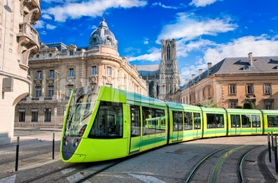Modern tram on the streets of the old town of Reims, France Stock Photo