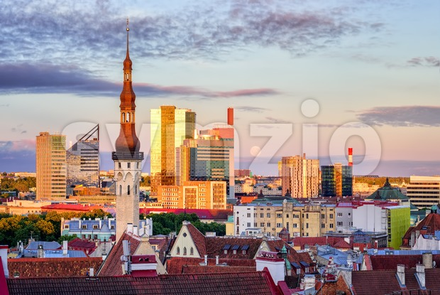 Skyline of Tallinn, Estonia, with old town church tower and modern buildings in background