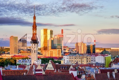Skyline of Tallinn, the capital city of Estonia Stock Photo