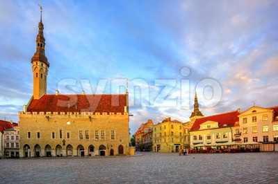 Town Hall Square in the old Town of Tallinn, Estonia Stock Photo