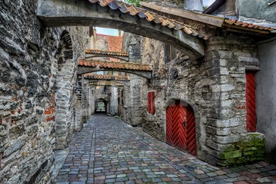 Old cobbled street in old town of Tallinn, Estonia Stock Photo