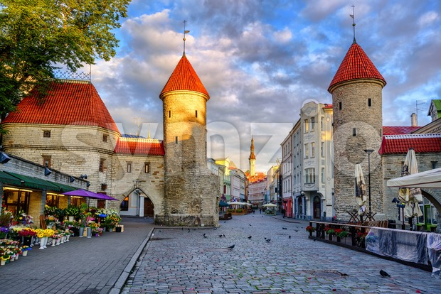 Viru Gate in the old town of Tallinn, Estonia Stock Photo