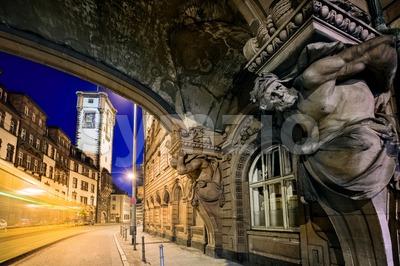 Night scene in the old town of Frankfurt Main, Germany Stock Photo