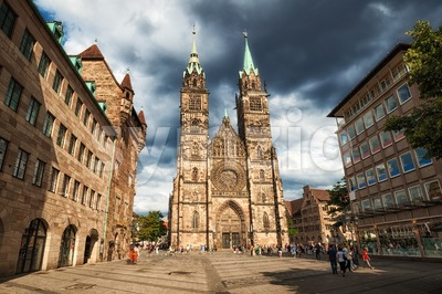 Gothic cathedral in the old town of Nuremberg, Germany Stock Photo