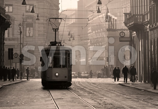 Historical tram in Milan old town, Italy Stock Photo