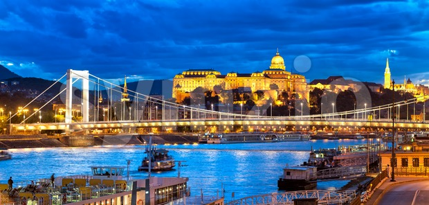 Buda Castle over Danube river, Budapest, Hungary Stock Photo