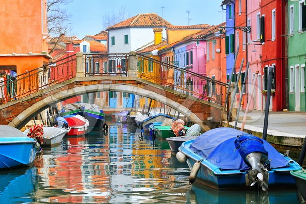 Colorful houses on Burano, Venice, Italy Stock Photo