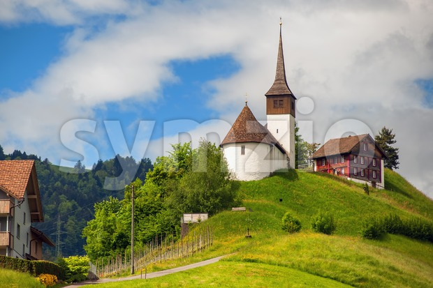 Church on a hill in central Switzerland near Zurich Stock Photo