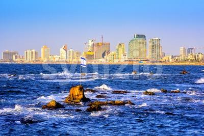 Skyline of Tel Aviv city, Israel Stock Photo
