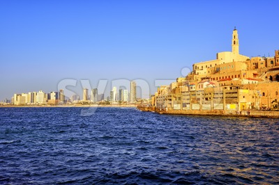 Old Jaffa town and Tel Aviv skyline, Israel Stock Photo