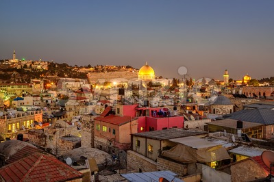 Old City of Jerusalem and Temple Mount, Israel Stock Photo