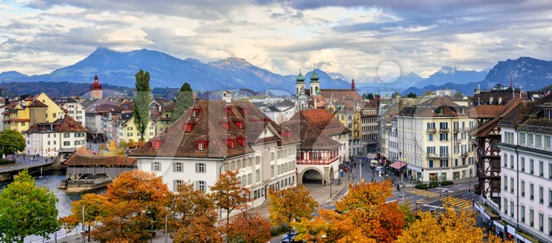 Panoramic view of Lucerne old town, Switzerland Stock Photo