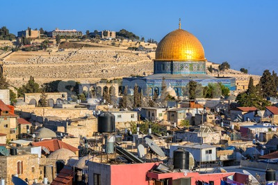 Golden Dome of the Rock Mosque, Jerusalem, Israel Stock Photo