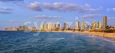 Modern skyline of Tel Aviv city at evening, Israel Stock Photo