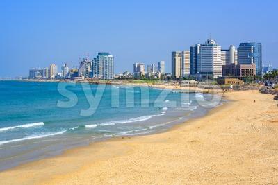 Modern skyline of Tel Aviv city, Israel Stock Photo