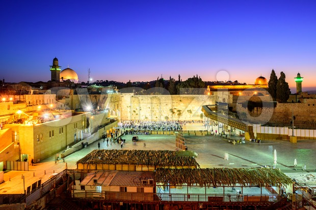 The Western Wall and Temple Mount with Golden Dome of the Rock and al-Aqsa Mosque in the old town of ...