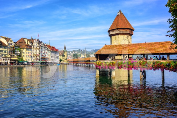 Wooden Chapel bridge in Lucerne old town, Switzerland Stock Photo