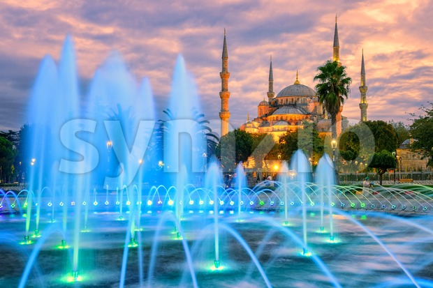 Blue Sultanahmet mosque, Istanbul old town, Turkey Stock Photo