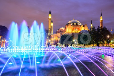 Hagia Sophia illuminated at evening, Istanbul, Turkey Stock Photo