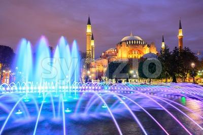 Hagia Sophia illuminated at evening, Istanbul, Turkey Stock Photo