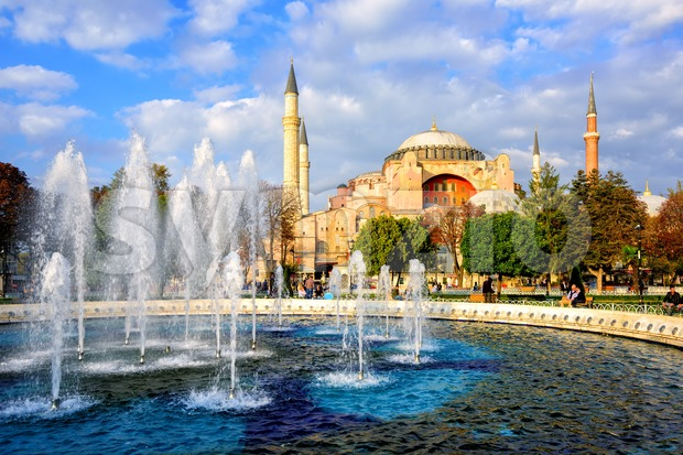 Istanbul, Turkey, Hagia Sophia basilica in the center of Old Town on a sunny day