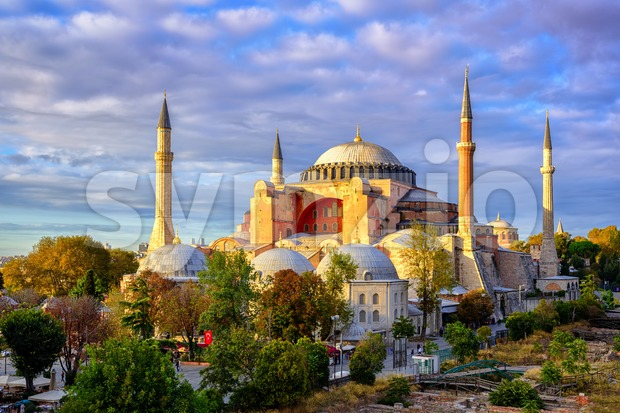 Hagia Sophia domes and minarets, Istanbul, Turkey Stock Photo