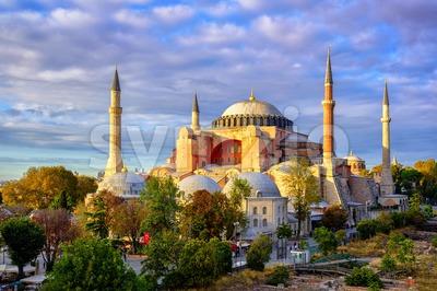 Hagia Sophia domes and minarets, Istanbul, Turkey Stock Photo