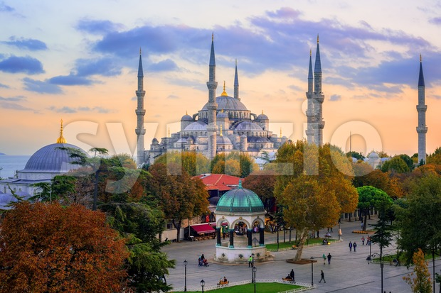 Blue Mosque in Sultanahmed old town, Istanbul, Turkey, on sunset