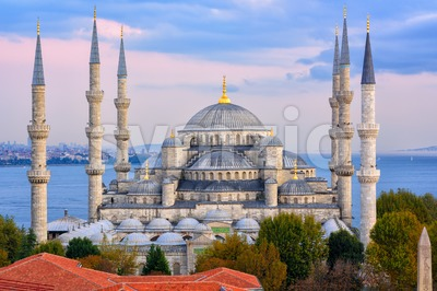 Blue Mosque and Bosphorus, Istanbul, Turkey Stock Photo
