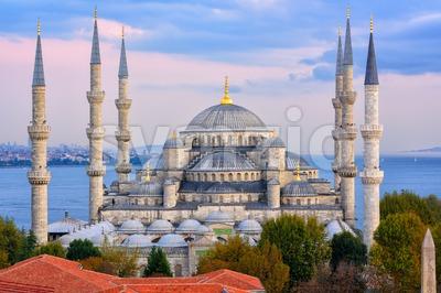 Blue Mosque and Bosphorus, Istanbul, Turkey Stock Photo