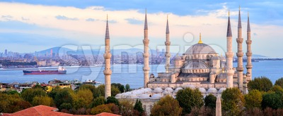 Blue Mosque and Bosporus panorama, Istanbul, Turkey Stock Photo