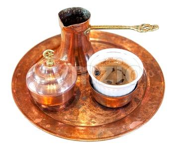 Turkish coffee set isolated on white Stock Photo