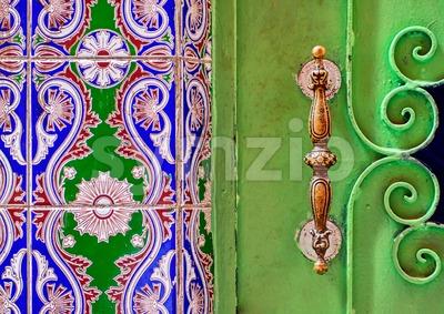 Traditional moroccan ornamented door handle Stock Photo