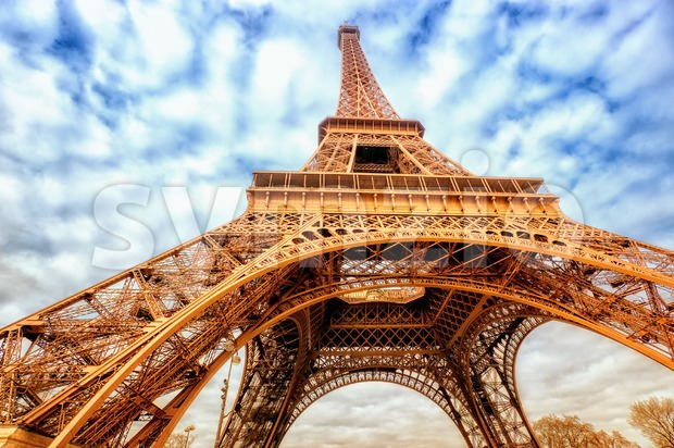 Eiffel tower wide shot with clouds, Paris, France Stock Photo