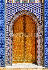 The ornamented golden door, Fes, Morocco Stock Photo